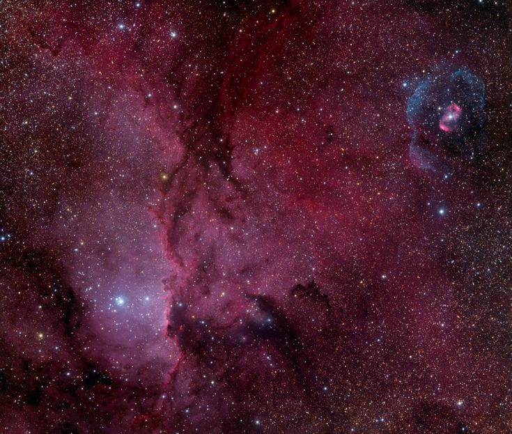 NGC 6188 and NGC 6164  Image Credit & Copyright: Marco Lorenzi (Glittering Lights)     The recent star formation itself was likely triggered by winds & supernova explosions, fr prev generations of massive stars, that swept up & compressed the molecular gas. Joining NGC 6188 on this cosmic canvas is rare emission nebula NGC 6164, also created by 1 of the region's massive O-type stars... The field of view spans abt 2 Full Moons, corresponding to 70 LYrs at the estimated distance of NGC 6188.