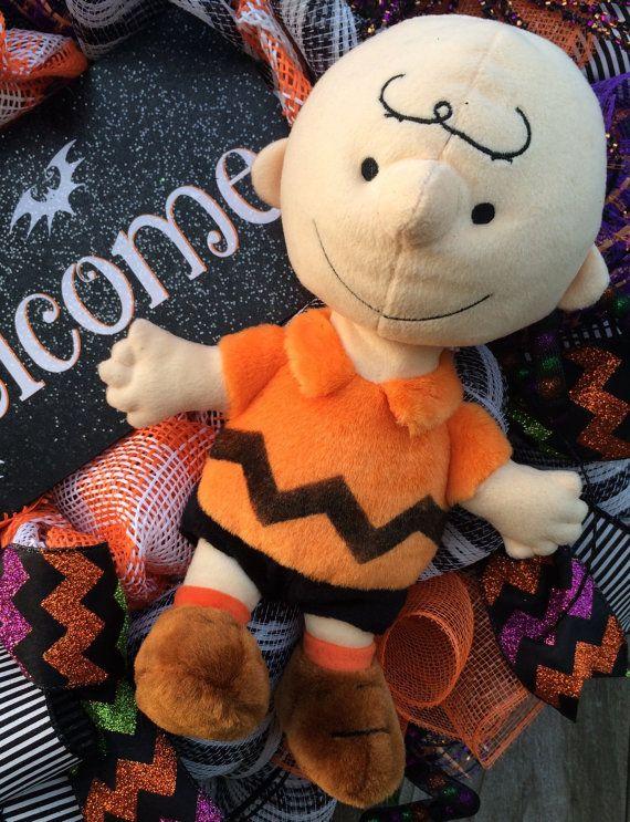 Snoopy Halloween guirnalda de cacahuetes Halloween por BaBamWreaths