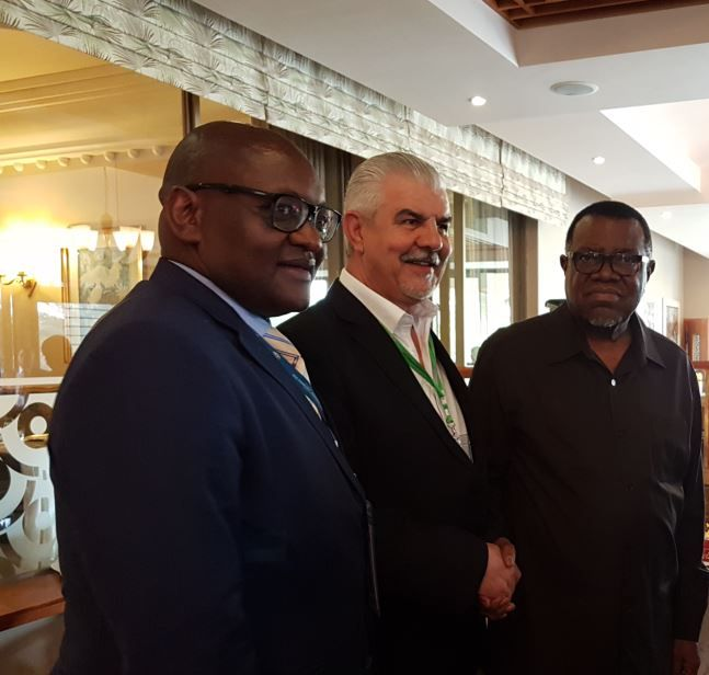 Hennie Botes in Namibia with HE President Hage Geingob and Gauteng Premier David Makhura