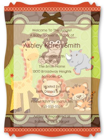 funfari fun safari jungle vellum overlay baby shower invitations with squiggle shape