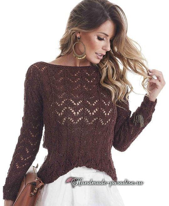 028fbe0c42c Пуловер с открытой спиной спицами