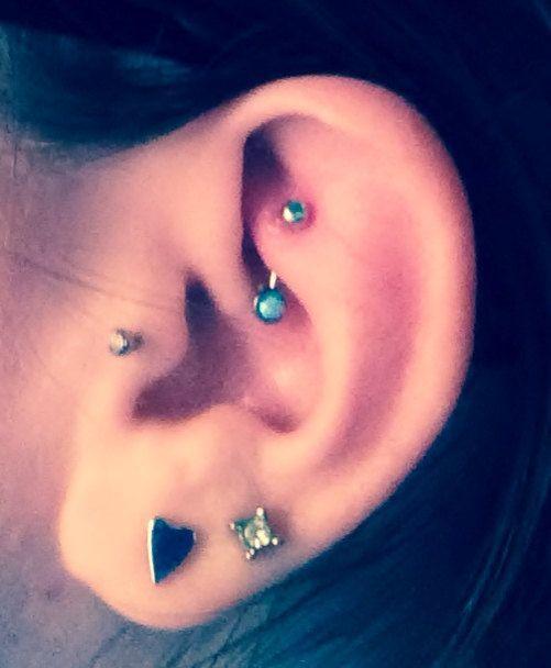 Tiny White Fire Opal Rook Earring Eyebrow Piercing Jewelry Ring Bar Barbell 16g 16 G Gauge Su...