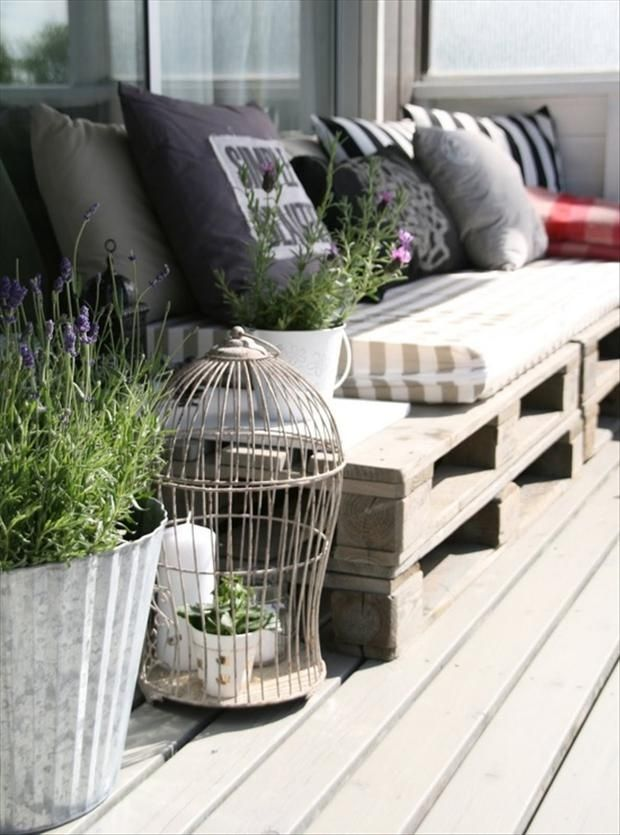 Motivational Pictures To Inspire You To Design Your Home Deck: Mesmerizing Outdoor Decking Line Idea With Chic Rustic Design Lavender Plants In Pots And Wire Birdcage Accessories With Black And White Cushion Bench ~ aureasf.com Accessories Inspiration