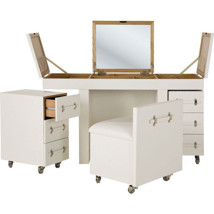 Make Up Combination Diva croco white - The White Diva cosmetic combination consists of a dressing table, a stool and two dressers. A 4-part chair/table combination with foldout mirror and many practical details in the stylish imitation crocodile look.