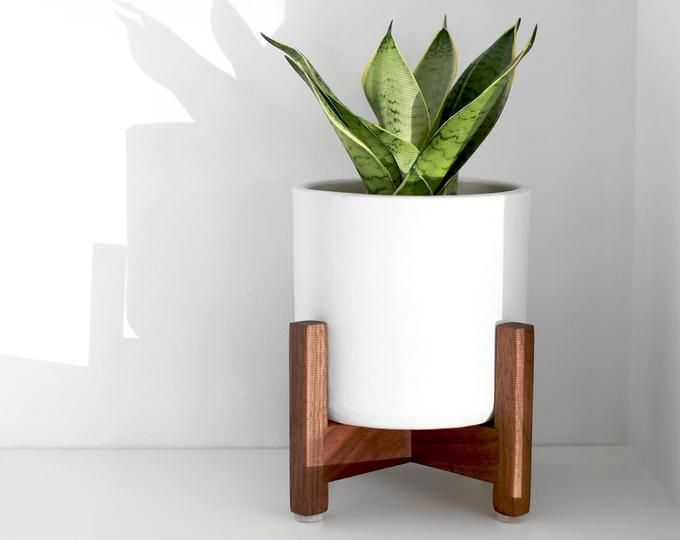Large Mid Century Modern Planter Plant Stand With Modern Plant