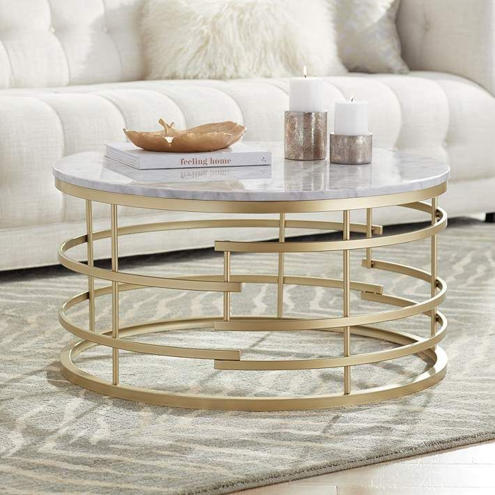 Brassica 34 Wide Faux Marble And Gold Modern Coffee Table