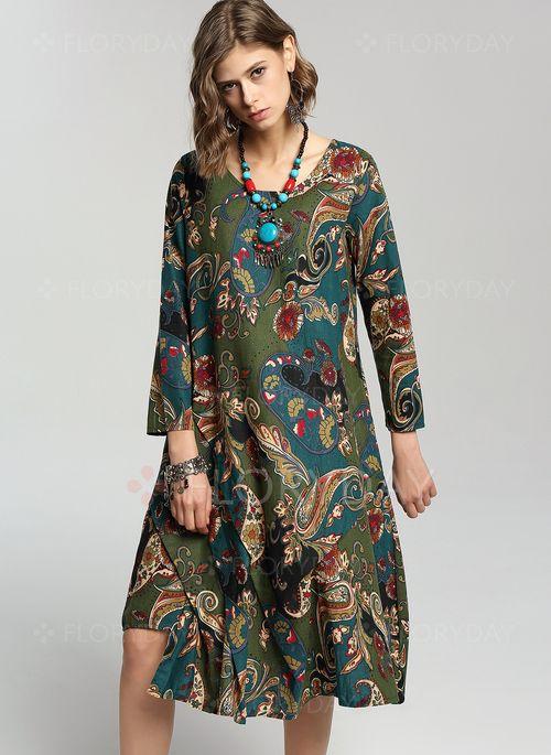Платья - $40.99 - Винтажное платье из лена длины миди с цветочным принтом с длинными рукавами (1955118501)