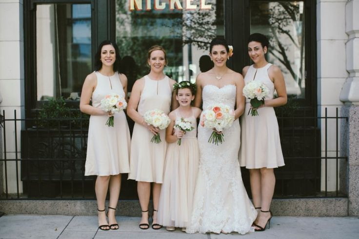 Glamorous Denver Wedding at Four Seasons Denver, CO  Beautiful nude bridesmaid and flower girl dresses!   Photographer:  Brittany Renee Photography