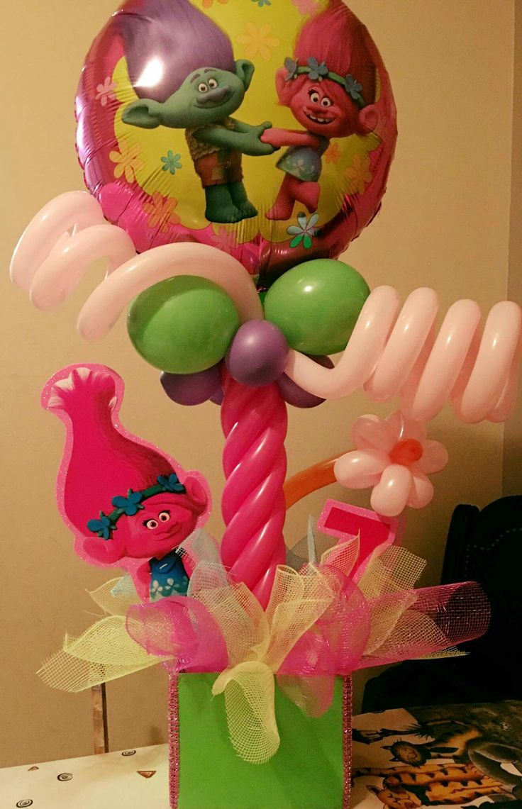 Trolls centerpiece trolls birthday party pinterest for Balloon decoration kits