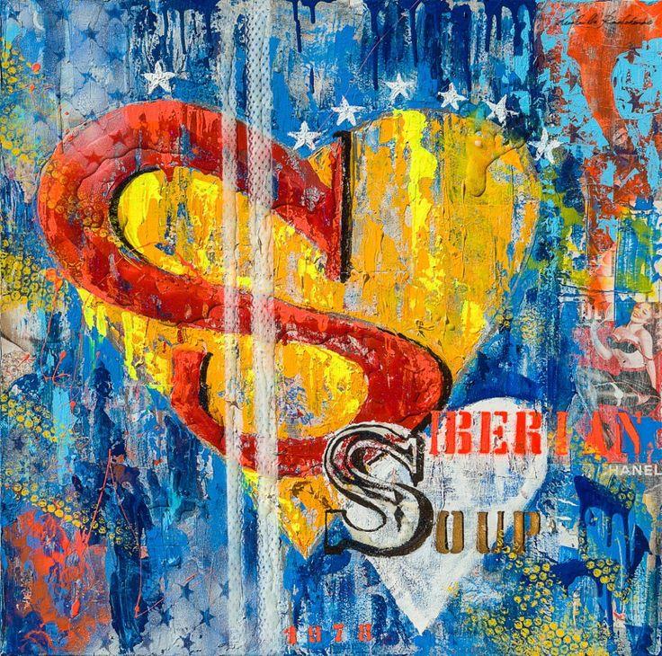 "Super Siberian  80x80 Collage&Acrilic on Canvas Serie ""FullArt Couture"" 2014"