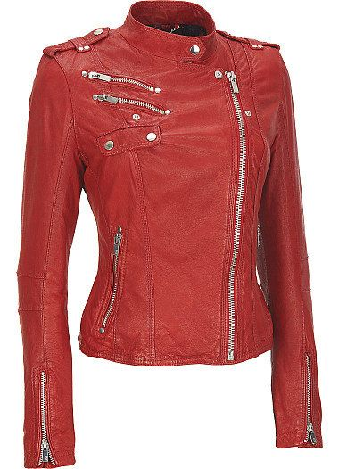 Women red leather jacket women biker leather by Myleatherjackets, $189.99-- too bad that's a lot of money.