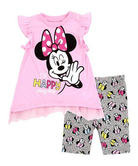 636a4c9de6 Minnie Mouse Light Pink 'Happy' Angel-Sleeve Top & Charcoal Dot Shorts -  Toddler in 2019   Disney   Toddler girl bike, Toddler girl outfits, ...