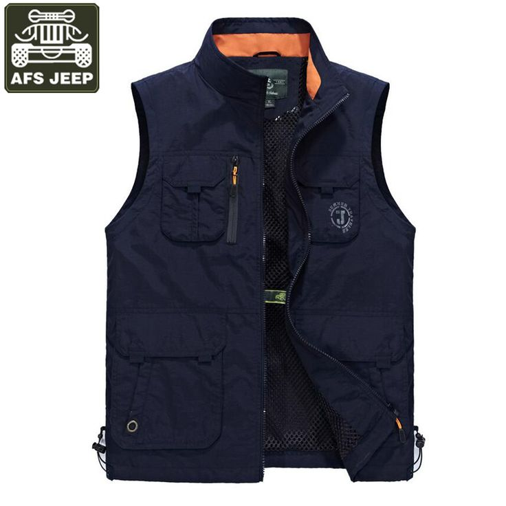 AFS JEEP Brand Vest Men Waistcoat Mesh Tactical Vest Multi-pockets Gilet Homme Plus Size L-6XL  Men's Clothing Outwear Homme #Affiliate
