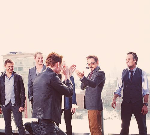 Loki will take on all Avengers.  Look at Ruffalo's face. Augh they're all so adorable it hurts