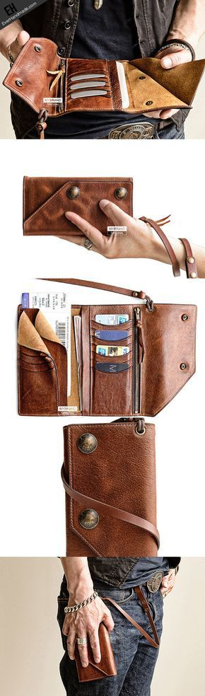 Handmade leather biker trucker wallet leather chain men Brown long wallet