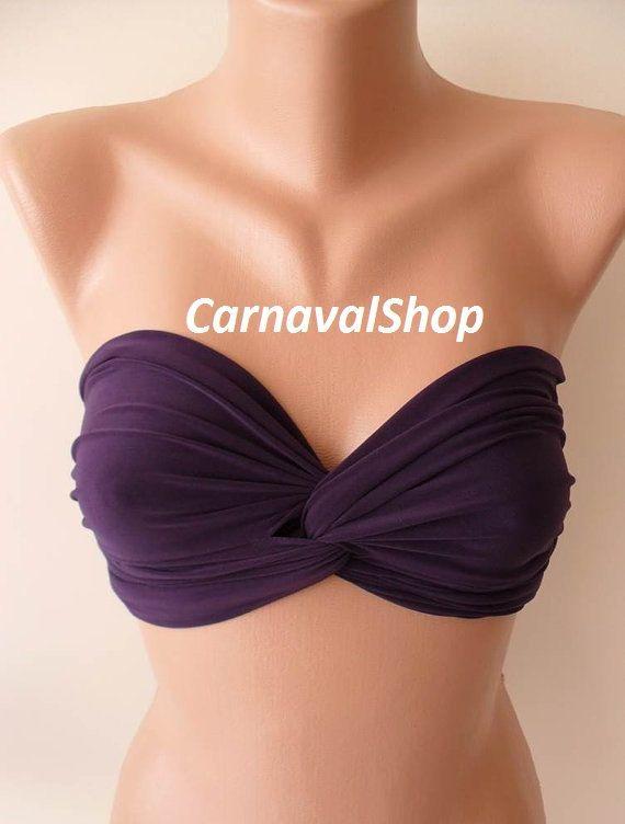 Gifts For Women Dark Purple Bandeau Bikini Top by CarnavalShop
