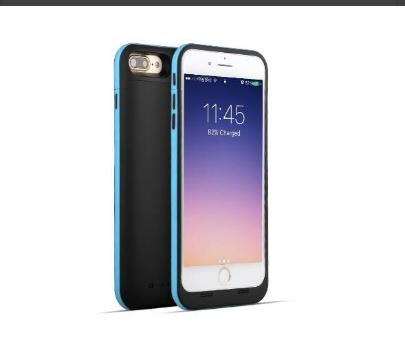 Black and blue coloured mobile phone charging case for iphone 7 7 plus mobile phones