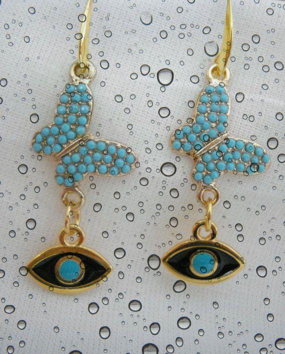 Butterfly evil eye earrings Gold jewelry Protection by Poppyg