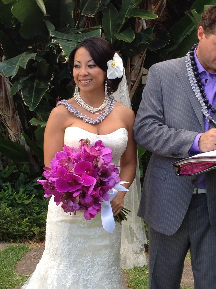 Abby's beautiful purple orchid bouquet by Val.