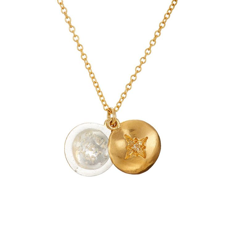 Love Conquers All Locket Necklace in Gold