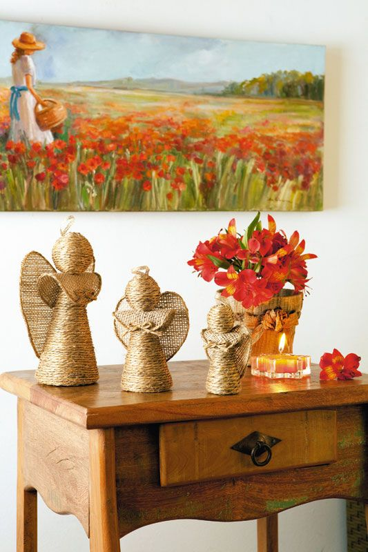Anjos com fibras de sisal, juta e soutache - Portal de Artesanato - O melhor site de artesanato com passo a passo gratuito
