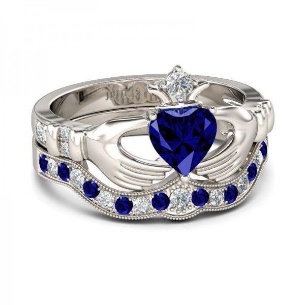 Jeulia Heart Cut Created Sapphire  Claddagh Ring Set