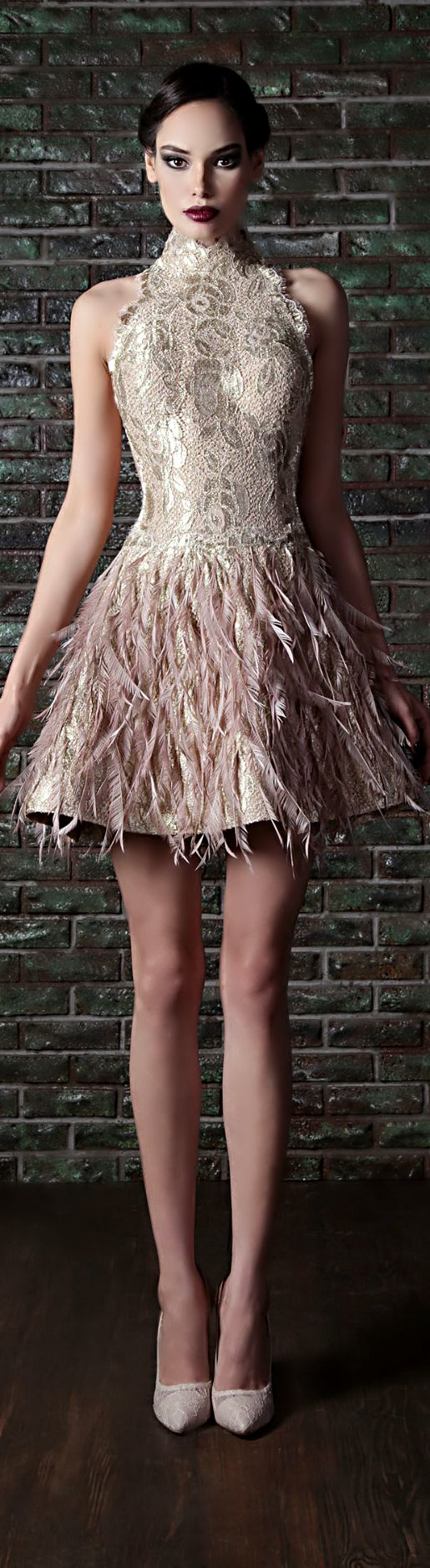 Rami Kadi cocktail dress with feathers