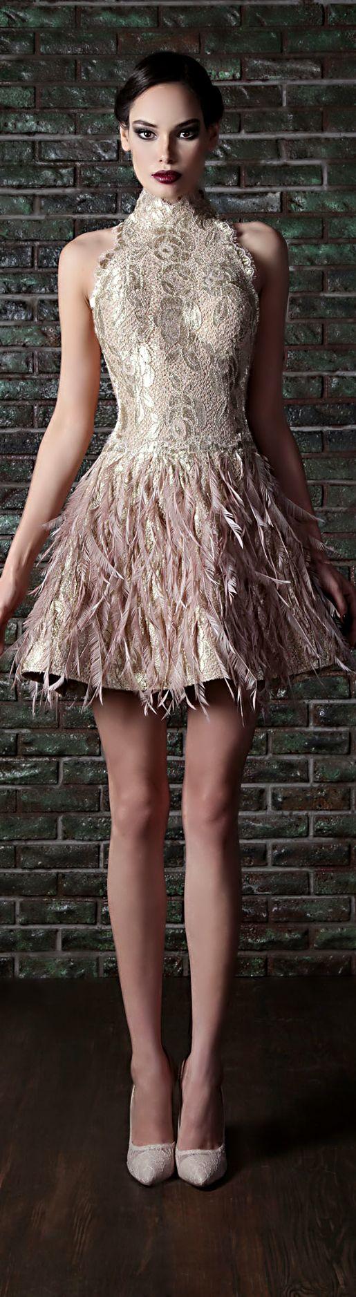 Rami Kadi cocktail dress with feathers