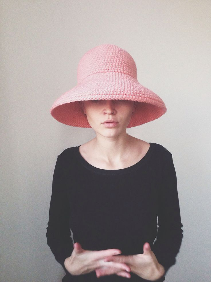 Pink Crochet wool brim hat by cyxodol. Fall winter 2015 2016 fashion knitwear knit accessories