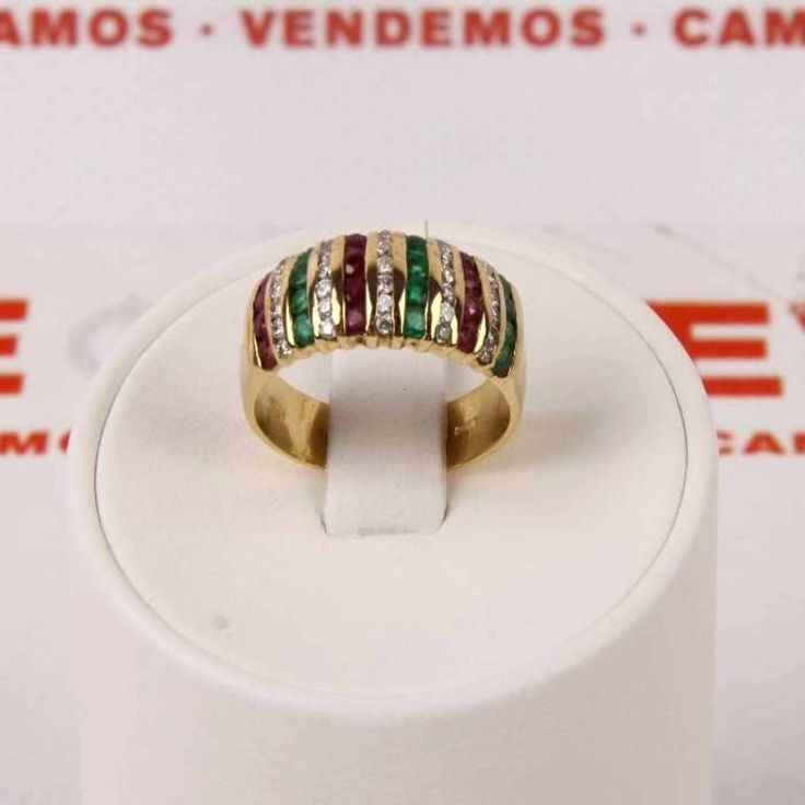 #Anillo de oro con #esmeraldas, #rubíes y brillantes E263578 de segunda mano | Tienda de Segunda Mano en Barcelona Re-Nuevo #segundamano