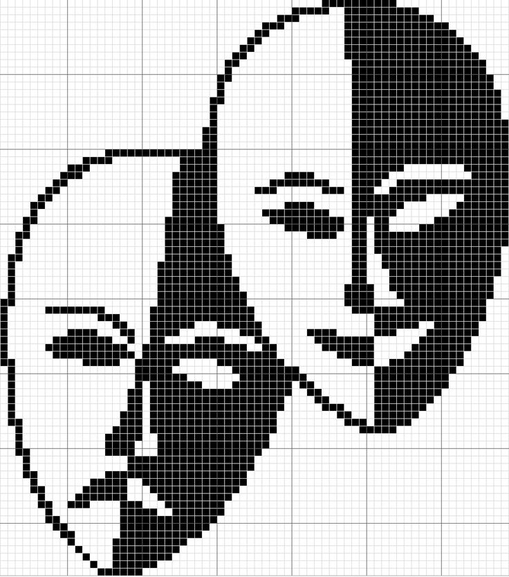 Cross stitch pattern theater masks happy face sad face 70x77 stitches