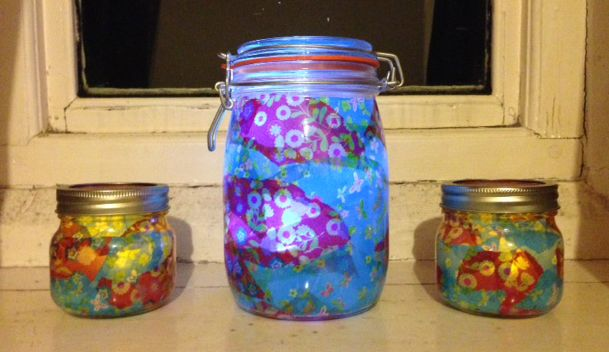 Jars decorated inside with decoupage papers and PVA, with an LED flickering night light inside.