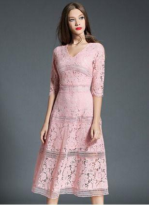 Lace Solid Half Sleeve Mid-Calf Vintage Dresses