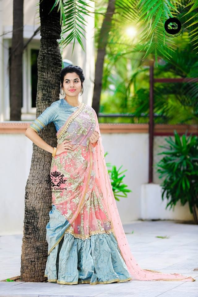 Sravana Bhargavi in Lehenga Saree – boutiquesareeblouse com