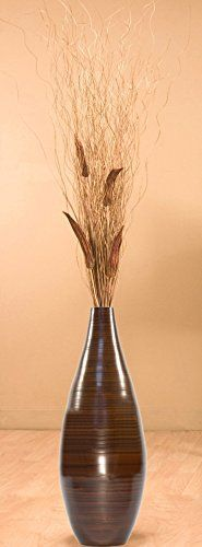 GreenFloralCrafts 24 Inch Brown Teardrop Bamboo Floor Vase and Branches - Okra *** Want additional info? Click on the image.