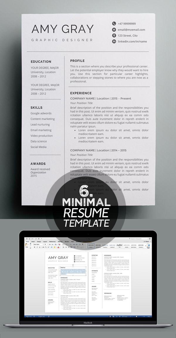 25 Best Minimalism Resume Templates 2018 Design Graphic Design Junction Graphic Design Resume Resume Template Professional Job Resume Examples