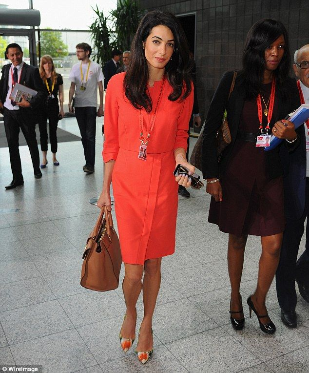 "Stepping out: Amal Alamuddin, George Clooney's fiancee, attended the third day of the global summit ""End Sexual Violence in Conflict"" in London, June 2014."