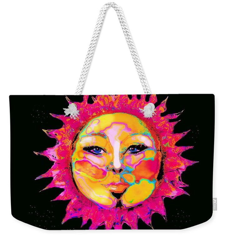 Strong Sensual Female Sun Face Portrait Surrounded Bystars Weekender Tote Bag featuring the digital art Sun Goddess She Sun by Expressionistart studio Priscilla Batzell