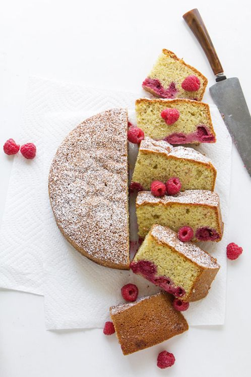... raspberry and almond olive oil cake ...