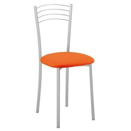 Pack de cuatro sillas para salón,comedor o cocina con estructura metálica con recubrimiento epoxi-poliester en colores disponibles: blanco,negro o naranja con tapizado en PVC.