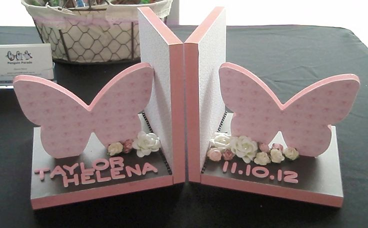 Taylor's pink butterfly book ends