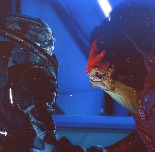 Vakarian/Wrex the unlikely brothers in arms.