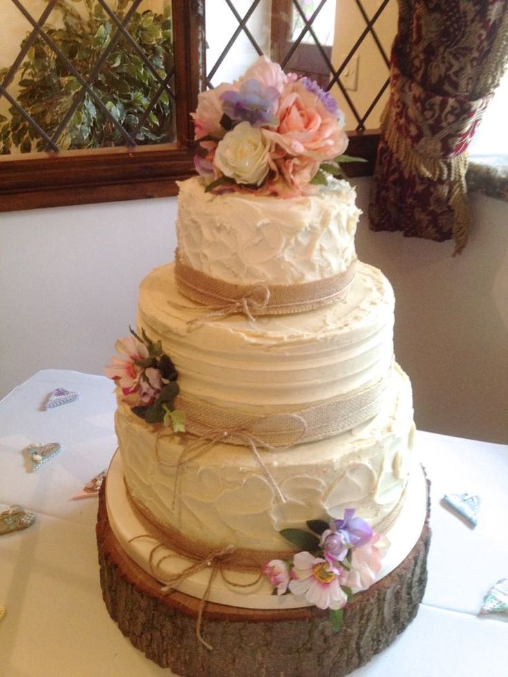 silk flower wedding cake decorations rustic wedding cake with silk flower cake topper and two 19841