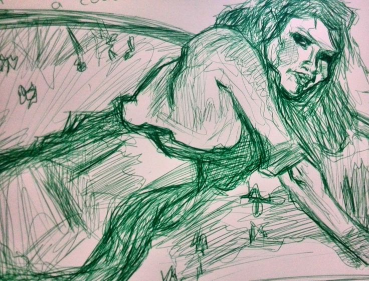 Sketch in ballpoint pen. My copy of Malcolm T. Liepke's painting