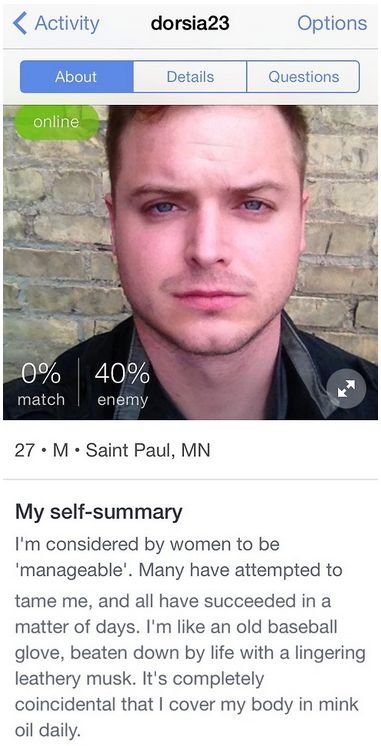 funny mens online dating profile Most guys have bad dating profiles this one of the top complaints i hear from women when it comes to online dating funny, intelligent.