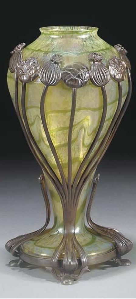 LOETZ - A PATINATED BRONZE-MOUNTED IRIDESCENT GLASS VASE