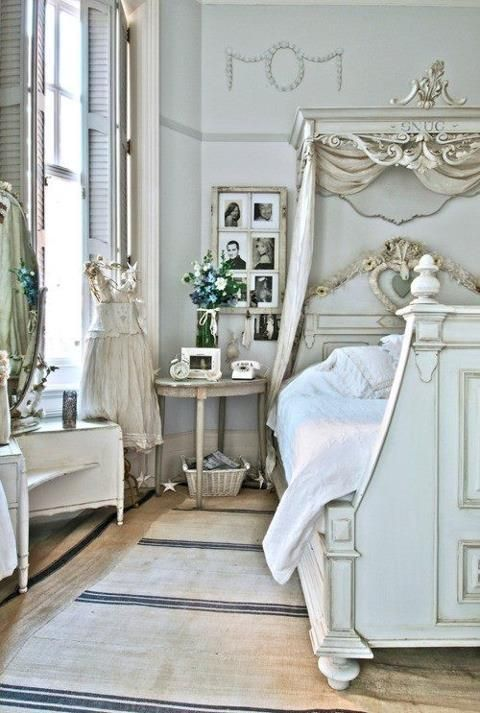 Cornice above bed, paint my bed and architectural piece same color, do as in this picture