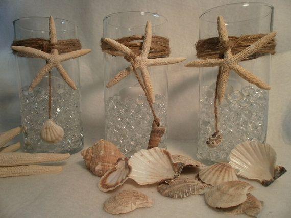 Nautical Wedding Glass Vases Beach Decor Nautical Wedding Beach House Set of (10)