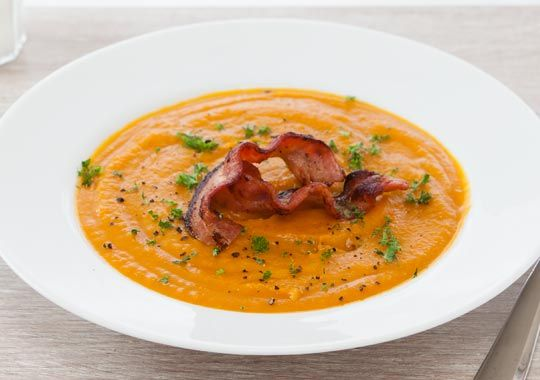 Free pumpkin and kumara soup with crispy bacon recipe. Try this free, quick and easy pumpkin and kumara soup with crispy bacon recipe from countdown.co.nz.