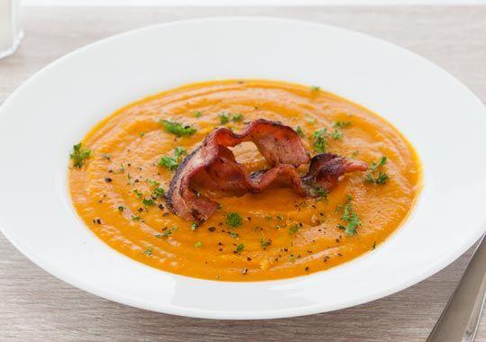 Pumpkin and Kumara Soup with Crispy Bacon